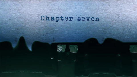 chapter seven Word Typing Sound Centered on Sheet of paper on old Typewriter Animation
