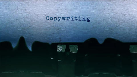 Copywriting Word Typing Sound Centered on Sheet of paper on old Typewriter Animation