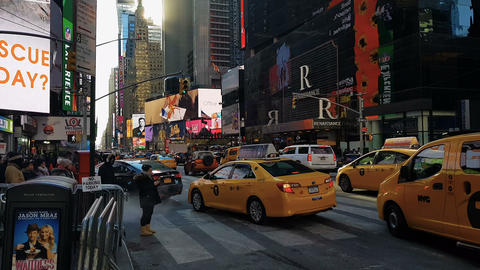 New York City, USA Times Square street traffic Footage