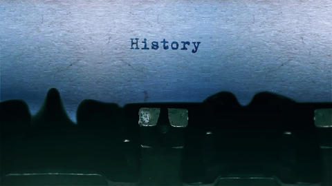 History Word Typing Sound Centered on Sheet of paper on old Typewriter Footage