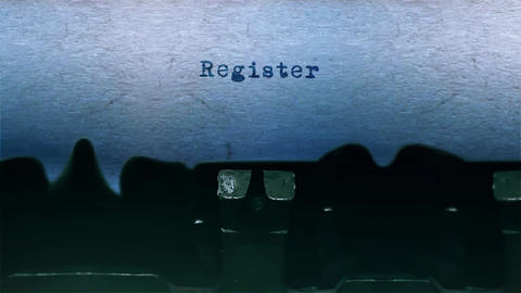 register Word Typing Sound Centered on Sheet of paper on old Typewriter Animation