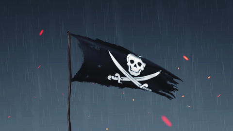 Animation of a pirate flag amid thunderstorms Animation