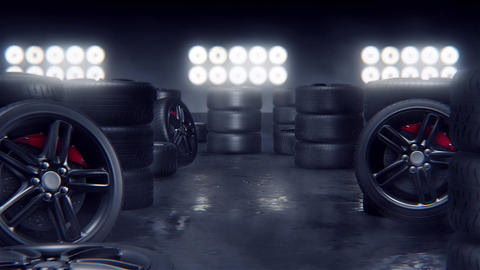 Sport tires on a race track Animation