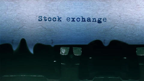stock exchange Word Typing Sound Centered on Sheet of paper on old Typewriter Animation