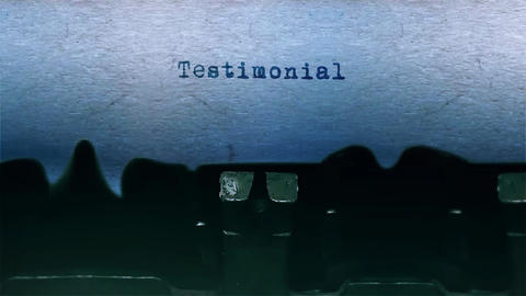 Testimonial Word Typing Sound Centered on Sheet of paper on old Typewriter Animation