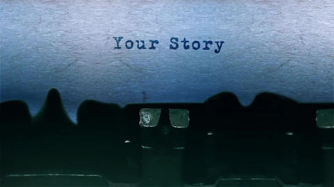 your story Word Typing Sound Centered on Sheet of paper on old Typewriter Animation