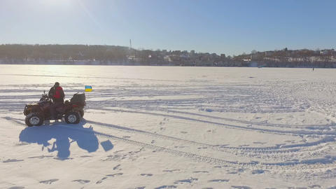 Competitions of paraglider pilots on the frozen lake. Ternopil Ukraine Footage