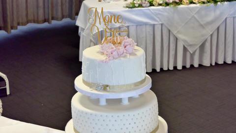 Shot of Wedding cake and decoration Image