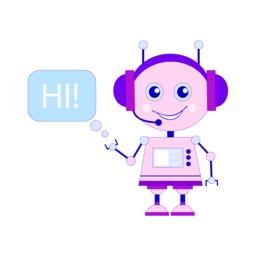 Funny smiling vector robot, chat bot say hi Vector
