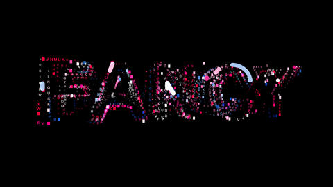 Letters are collected in text FANCY, then scattered into strips. Bright colors Animation