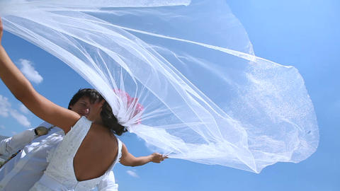 bride and groom stand on a strong wind at the wedding day near the sea. Veil ビデオ