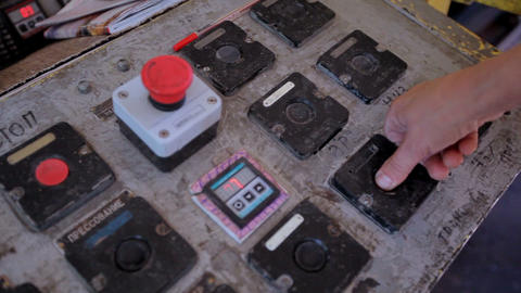 Control panel in the production hall at the furniture factory Footage