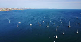 Aerial View Of Yachts And Boats On Blue Ocean Footage