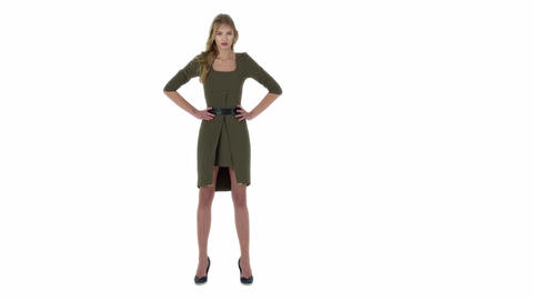 fashion model in green dress on a white background Footage