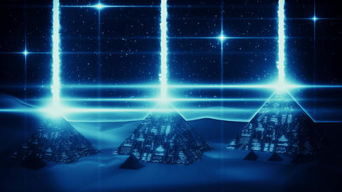 Blue Sci-Fi Giza Pyramids at Night Loopable Motion Graphic Background 애니메이션