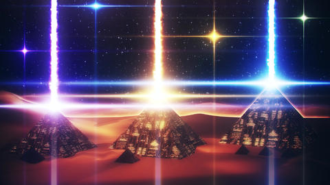 Sci-Fi Giza Pyramids at Night Loopable Motion Graphic Background Image