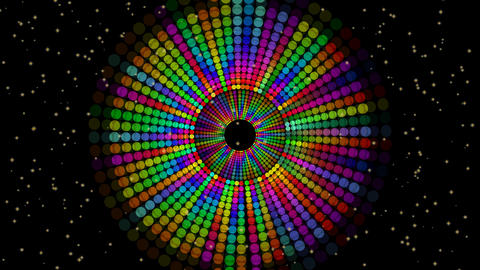 Magic circle composed from rainbow dots, vivid colors on black background with Animation