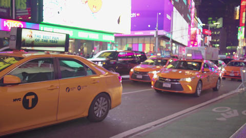 Times Square New York City At Night Traffic Cars Yellow... Stock Video Footage
