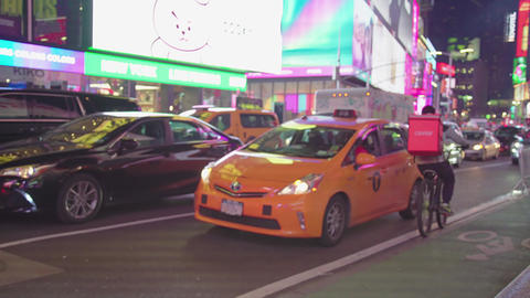 Times Square New York City At Night Traffic Cars Yellow Cabs Night Footage