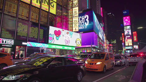 New York City, Times Square Illuminated Night Nyc Cars Traffic Footage