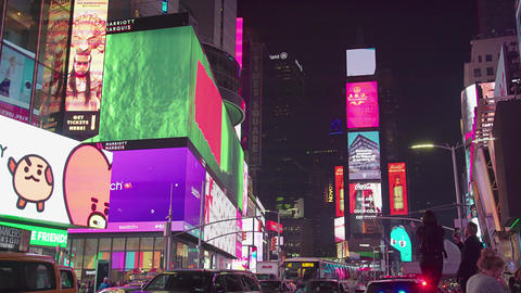 Times Square In New York City At Night Footage