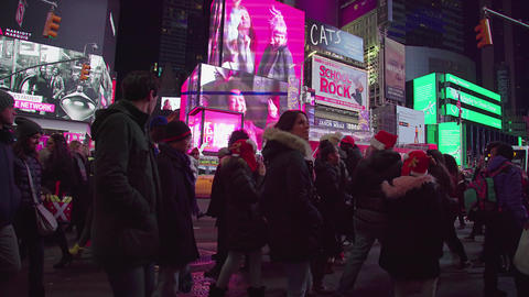 Too Many People In Times Square In The Night, NY Footage
