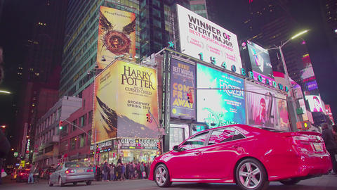 Illuminated Night Times Square New York City Car Traffic Manhattan Footage