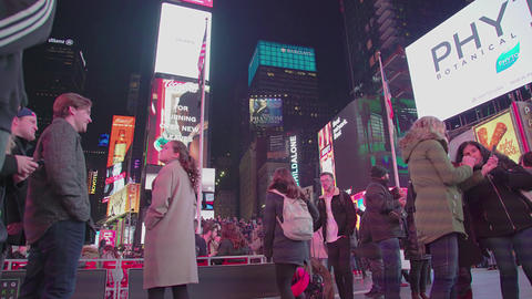 Illuminated Night Times Square New York City Car Traffic Manhattan USA Footage
