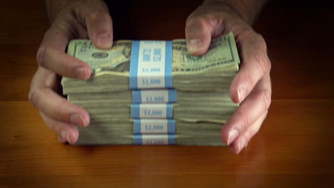 Stack of US Money Bundles Footage
