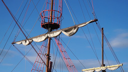 Old sailing ship. Close up shot Footage