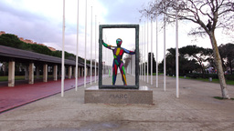 Mark by Robert Llimos, Art sculpture at Parc del Port Olimpic, pedestrian alley Footage