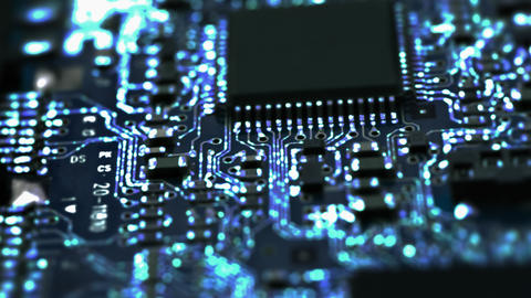 Circuit Board / Processor Chips / Data Streams stock footage