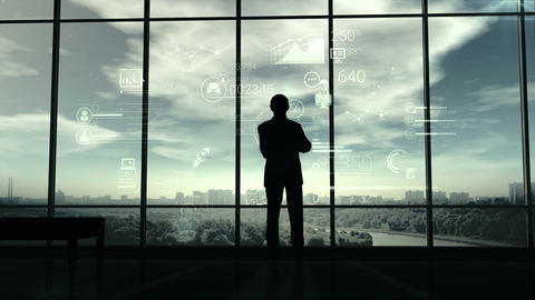 Silhouette of man and corporate infographics Image