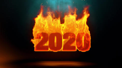2020 Word Hot Burning on Realistic Fire Flames Sparks Continuous Loop Animation