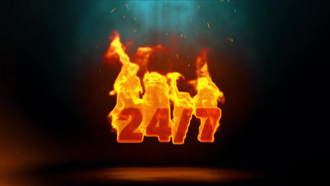 27_7 Word Hot Burning on Realistic Fire Flames Sparks Continuous Loop Animation