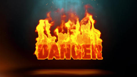 danger Word Hot Burning on Realistic Fire Flames Sparks Continuous Loop Animation
