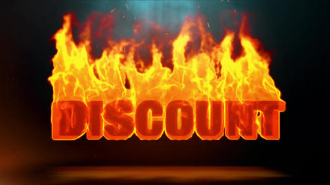 Discount Word Hot Burning on Realistic Fire Flames Sparks Continuous Loop Animation