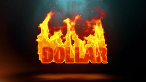 dollar Word Hot Burning on Realistic Fire Flames Sparks Continuous Loop Animation