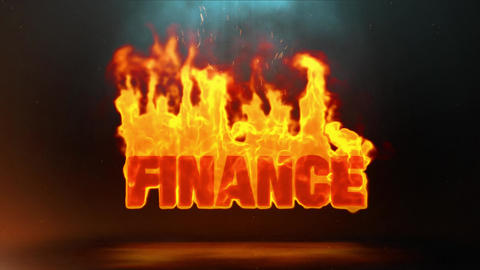 finance Word Hot Burning on Realistic Fire Flames Sparks Continuous Loop Animation