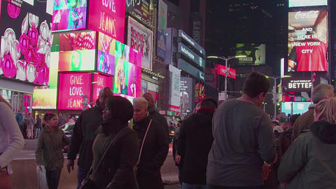 Illuminated Night Times Square New York, Manhattan, slow motion Footage