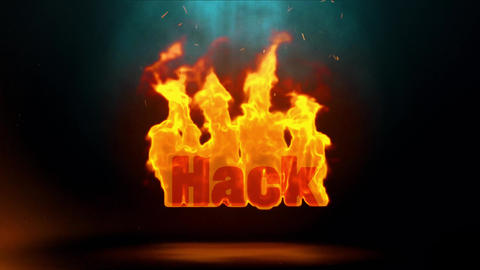Hack Word Hot Burning on Realistic Fire Flames Sparks Continuous Loop Animation