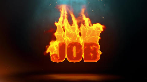 JOB Word Hot Burning on Realistic Fire Flames Sparks Continuous Loop 画像