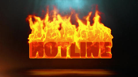 HOTLINE Word Hot Burning on Realistic Fire Flames Sparks Continuous Loop Animation