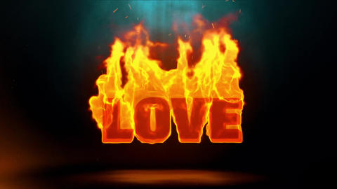 Love Word Hot Burning on Realistic Fire Flames Sparks Continuous Loop Animation
