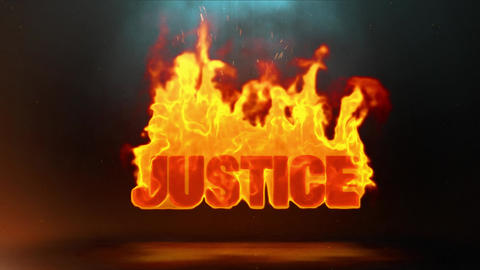 Justice Word Hot Burning on Realistic Fire Flames Sparks Continuous Loop Animation