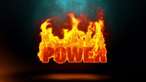 Power Word Hot Burning on Realistic Fire Flames Sparks Continuous Loop Animation