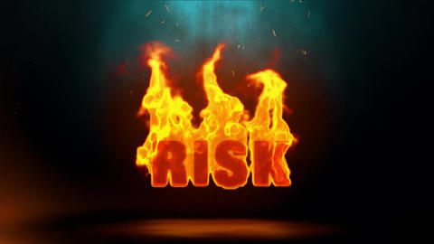 Risk Word Hot Burning on Realistic Fire Flames Sparks Continuous Loop Animation