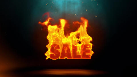 Sale Word Hot Burning on Realistic Fire Flames Sparks Continuous Loop Animation