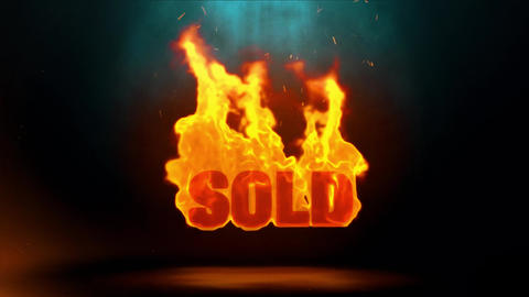 sold Word Hot Burning on Realistic Fire Flames Sparks Continuous Loop Animation