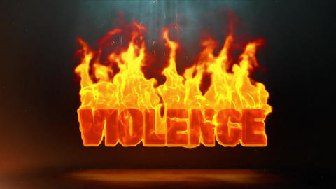 violence Word Hot Burning on Realistic Fire Flames Sparks Continuous Loop Animation